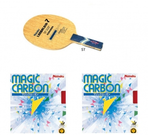 Nittaku Lonbaldia 7 Table Tennis Blade + Nittaku Magic Carbon Rubbers